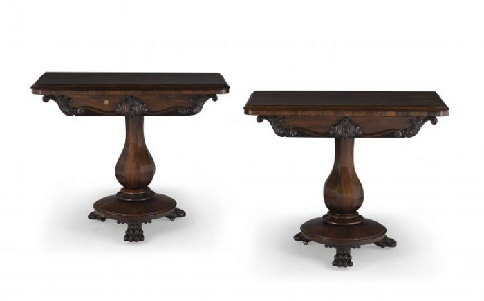 Rare Pair Of Victorian Rosewood Card Tables Certified With A BADA Stamp Of Authenticity