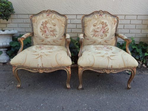 Pair Of Gilt And Red Painted Armchairs