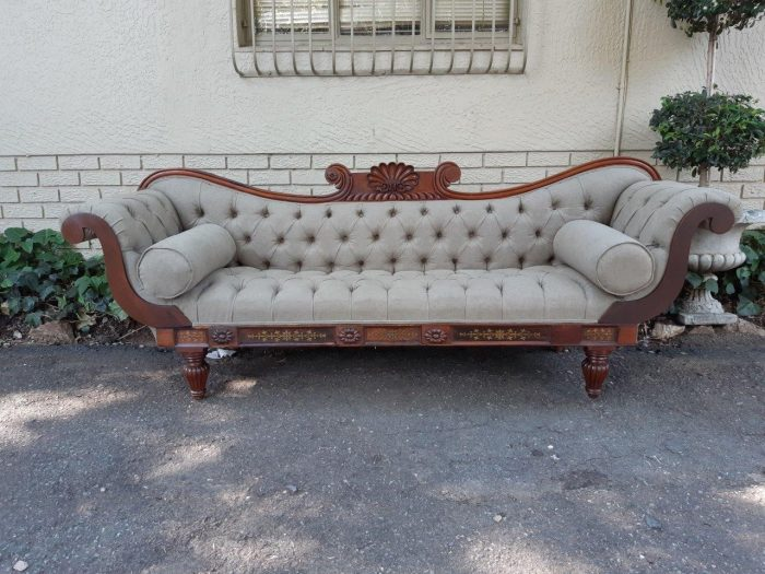 Victorian Rosewood Settee New English Linen Deep Buttoned