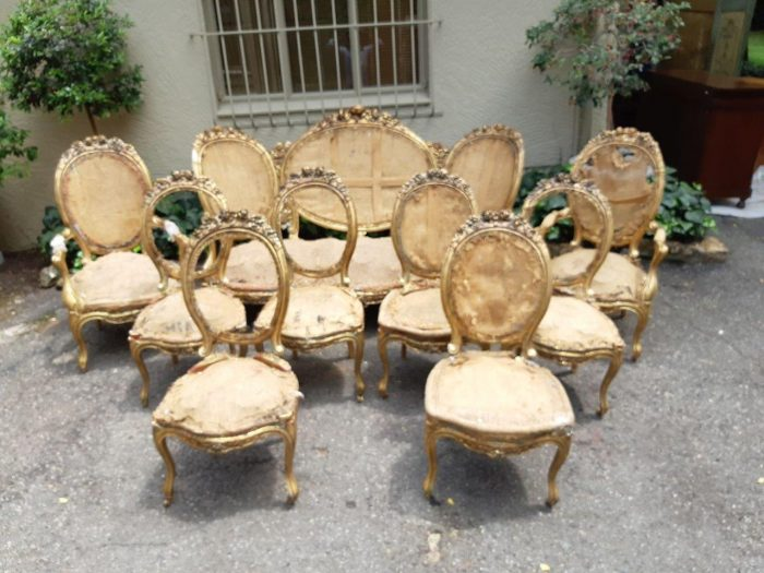 A 19th Century Louis Xvi Style Giltwood Set Comprising Of A Settee