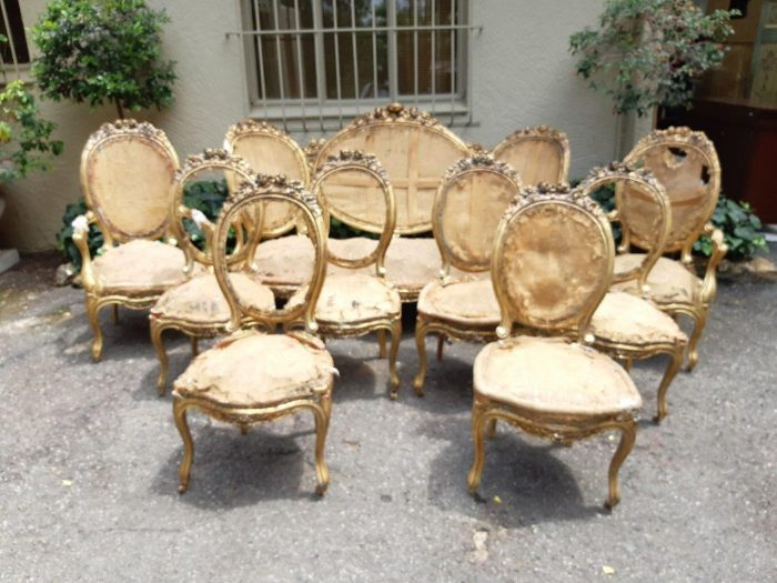 A Pair Of Carvers And Six (6) X Side Chairs. Sourced From Harcroft House A Historic Constantia Mansion In Cape Town. * Full Information Available On Request.