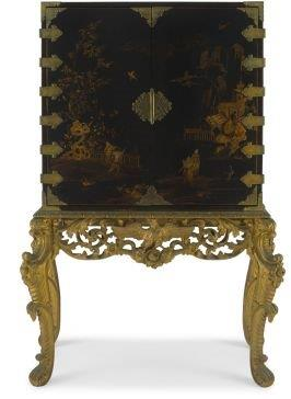 19th Century Japanned and Chinoiserie Brass-Mounted Cabinet-On-Stand. Sourced from Harcroft House a historic Constantia mansion in Cape Town. * Full information available on request.