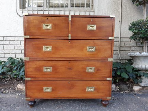 Teak Military Campaign Chest of Drawers