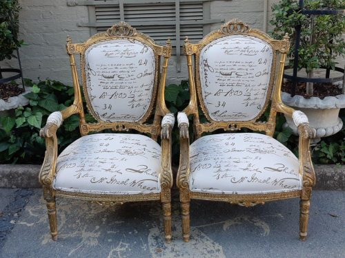 A Pair Of Antique Louis Style Arm Chairs With Original Gilding
