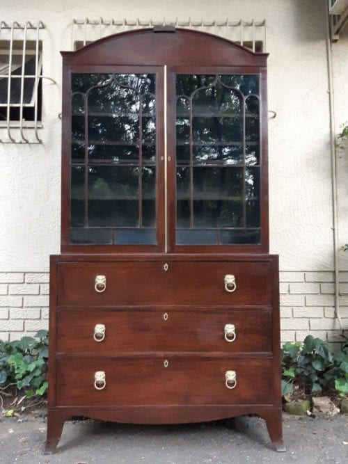 A Late 18th Century/Early 19th Century Mahogany Secrataire Bookcase with Fitted Interior and Hand Tooled Writing surface