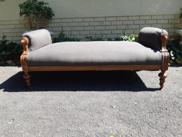 A Victorian Mahogany Daybed (New Upholstery-Imported English Linen)