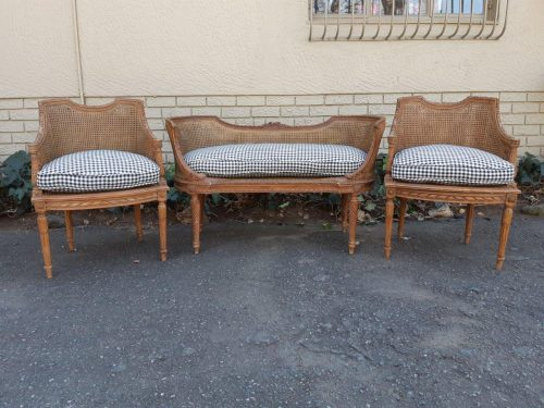 A Three Piece Louis Phillipe Carved and Rattan Set Comprising of a Pair of Chairs and a Settee in a New Black and White Check Fabric - ND