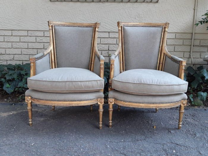 A 19th Century Pair Of French Giltwood Bergeres