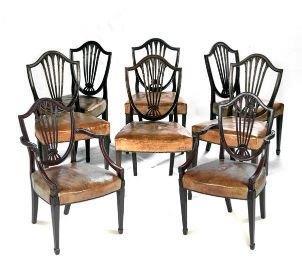A 19th Century Set Of Eight Mahogany Hepplewhite Style Chairs