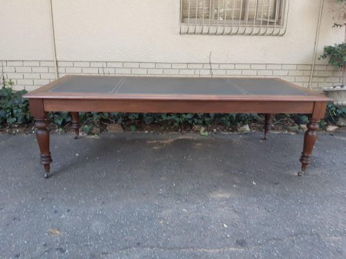 Leather Inlay Library Table On Castors Circa 1970