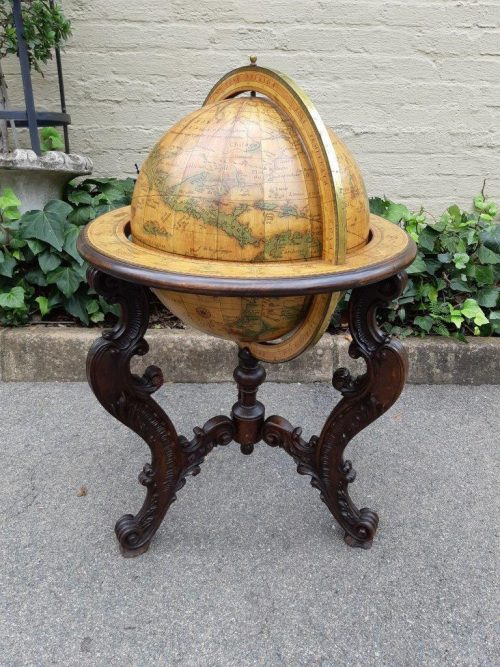 World Globe On Carved Stand
