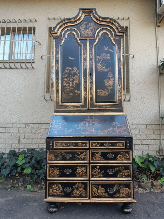 Chinoiseries Queen Anne Style Hand-Painted Black Lacquered Bureau Desk Painted Bookcase. Circa 1960