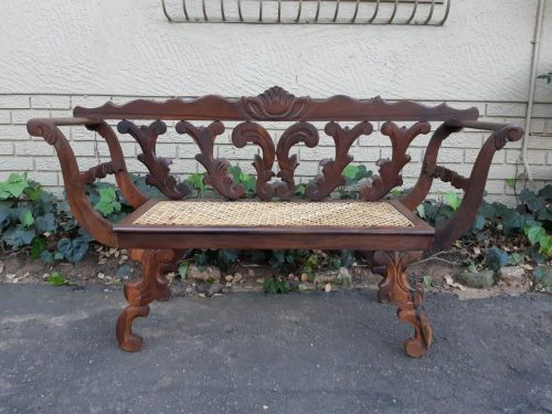 Colonial Regency-Style Hardwood Carved Settee / Bench