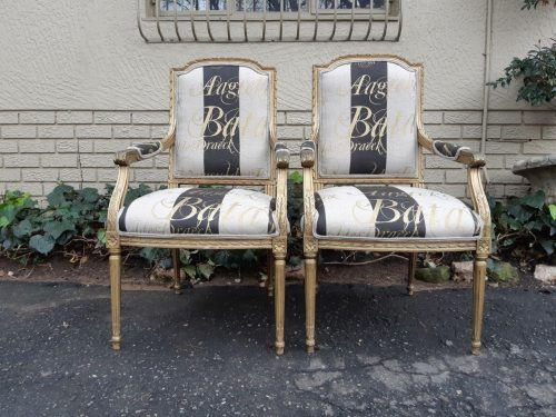 A Fine Pair of Antique/Vintage French Style Gilded Armchairs Upholstered in a Hand-painted Fabric