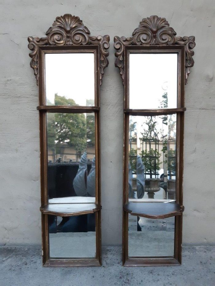 Pair Of Italian Gilt Painted Bevelled Mirrors With Shelves - ND