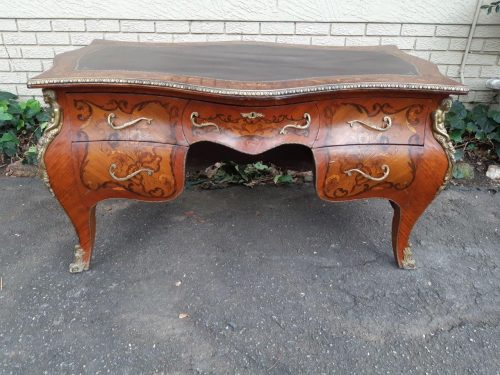 French Style Leather Topped 5 Drawer Desk with Brass Border