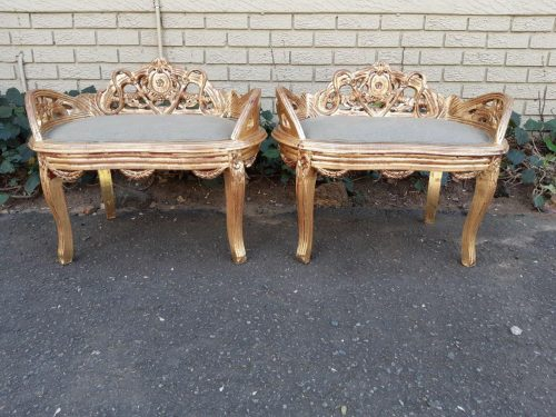 Pair Of French Style Carved And Gilded Chairs