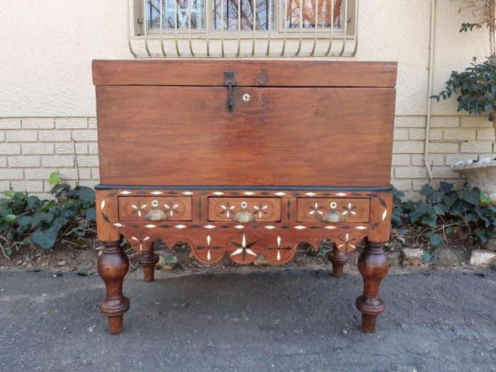 ANTIQUE CHEST ON EBONY & IVORY INLAID STAND