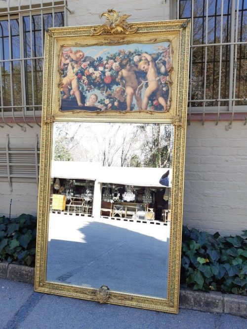 Massive Gilt Mirror With a Photolithograph Panel
