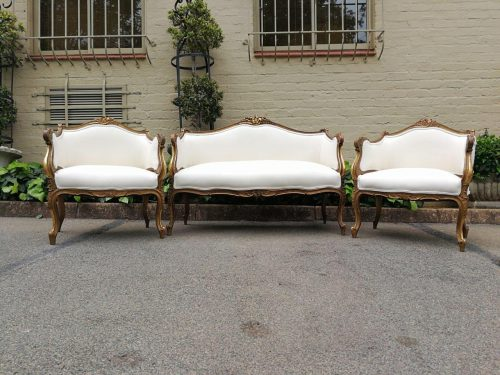 Rare And Original Three Piece French  Bergere Gilt Suite.  Provenance: Embassy In Pretoria - Nd
