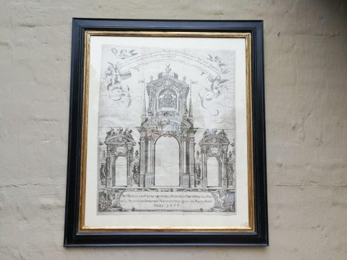 A Continental Engraving In A Handmade Wooden Frame