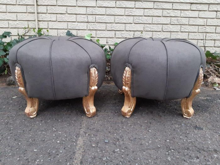 Pair of French Style Hand-Gilded with 22-Karat Goldleaf Tuffets/Ottomans