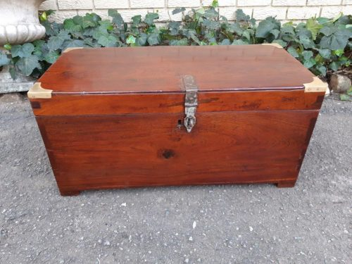 Anglo-Indian mahogany campaign trunk with brass detail