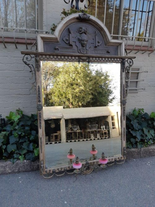 Victorian Gilded Mirror  Wooden Mirror with a Brass Rim and Oil Lamps.  Circa Mid/Late 1800's
