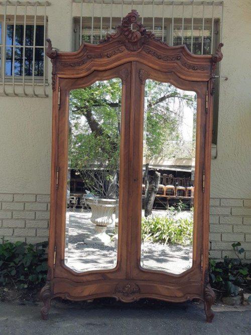 19thc French Oak Mirrorfront Armoire