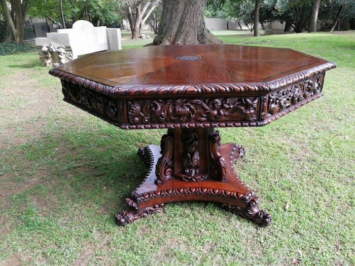 Flemish Octagon Renaissance Table Circa 1860
