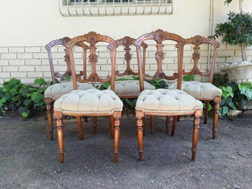 5 Victorian Mahogany Chairs Upholstered In An Imported English Linen And Deep Buttoned