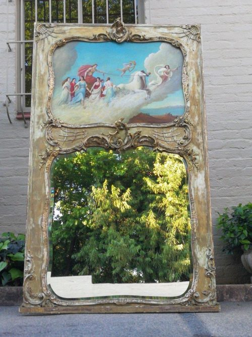 A Large Painted And Gilded French-Style Mirror - ND