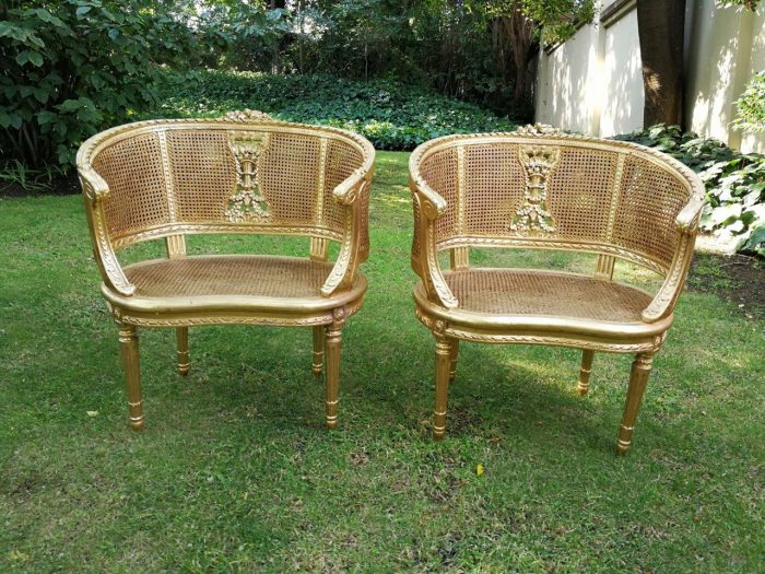 A Pair Of Painted Louis Xvi-Style Cane Chairs - ND
