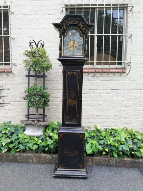 Antique Ebonised Chinoiserie Longcase Grandfather Clock