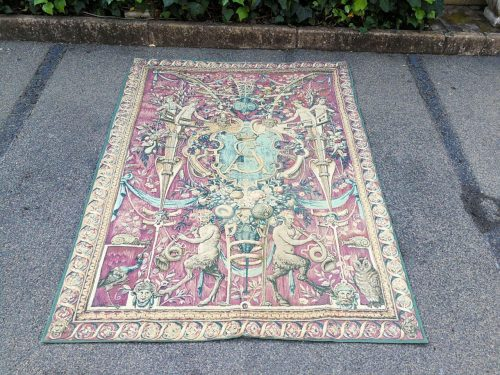 French Aubusson Style Wall Hanging Tapestry With Back Cover