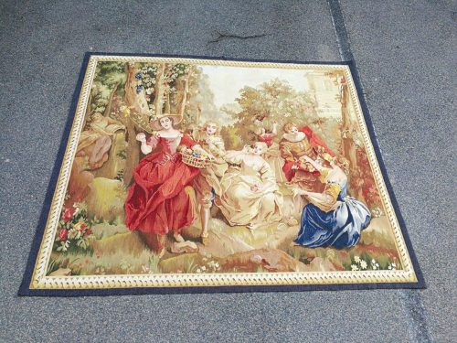 Antique Aubusson French Tapestry Garden Party Scene Hand Woven Circa.19th Century