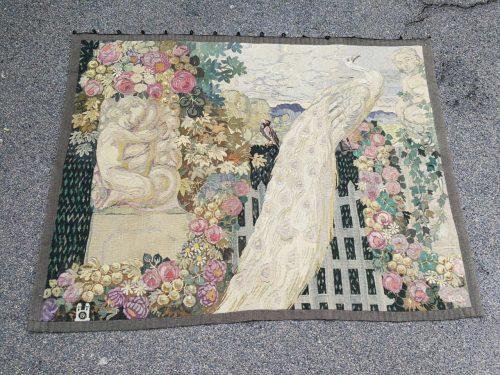 Antique French Aubusson Verdure Tapestry (Garden Scene)