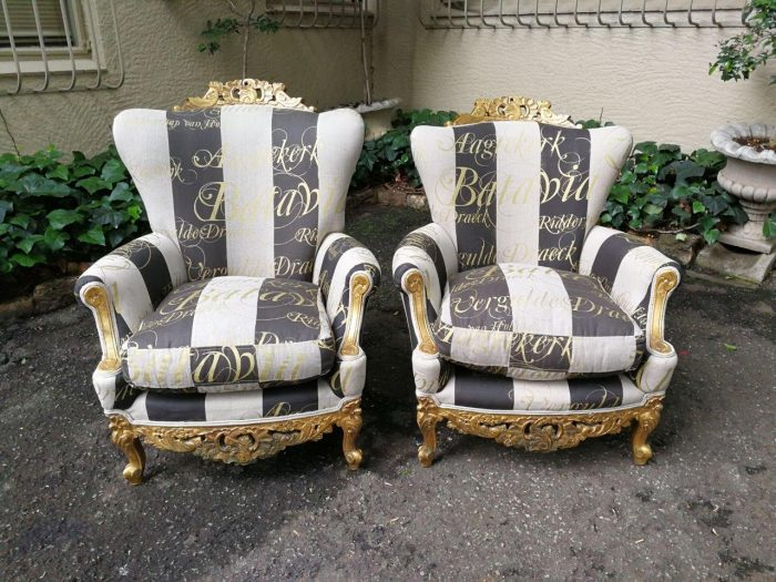 Pair Of Original Louis Xv Salon Chairs (King And Queen) – Nd