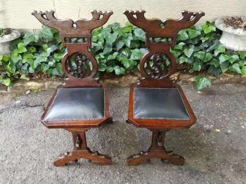 A Pair Of 19th Century Mahogany Hall Chairs/Prie- Dieu (Prayer Chairs)