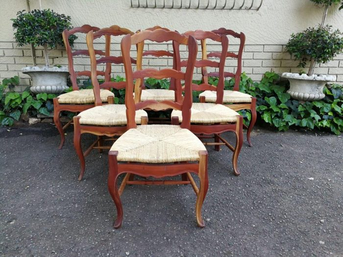 Set Of Six (6) French Ladderback With Sea Grass Seats