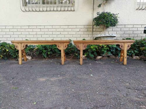 Pair Of Antique Elm Wood Chinese Benches