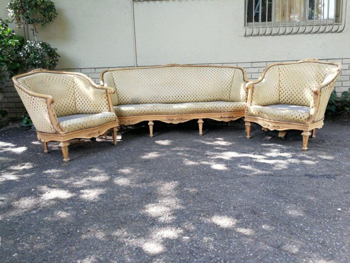 19th Century French Walnut Bergere Settee And Pair Of Chairs