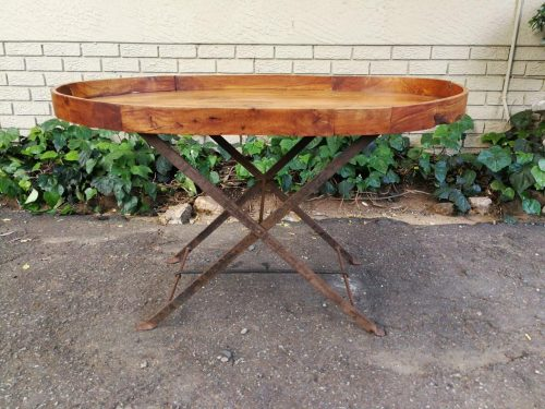 Teak Foldup Butlers Tray Style Table On Metal Base