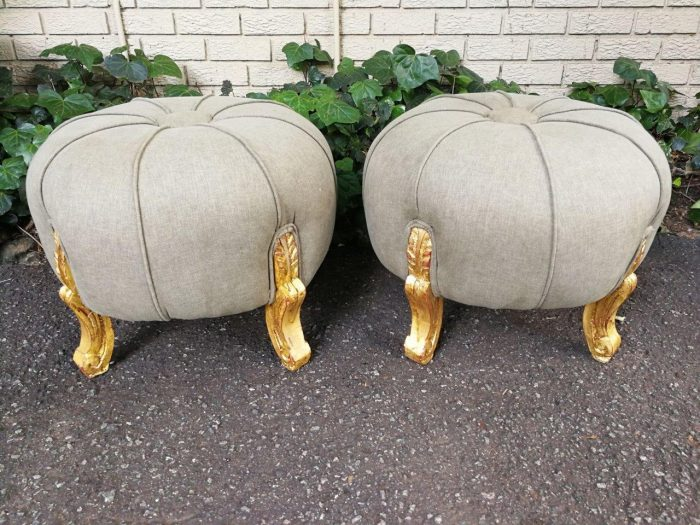 Pair Of French Style Hand-Gilded With 22-Karat Goldleaf Tuffets / Ottomans