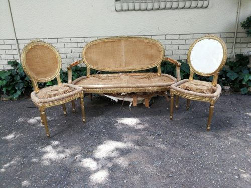 A Set Of French Giltwood Louis Xvi Style Settee And Armchairs/Salon Suite