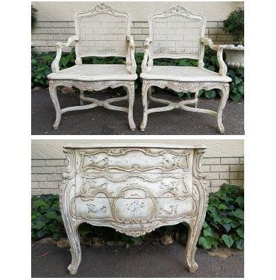 A Pair Of Painted French Style Wood And Rattan Armchairs And A Painted And Carved French Style Bombe Chest Of Drawers