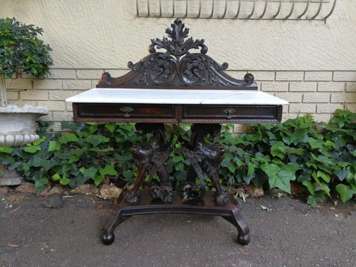 Gothic Console With Carrara Marble Top And Drawers