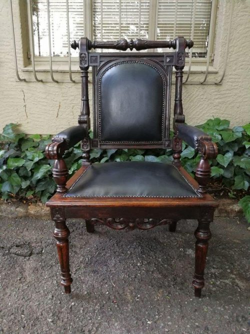 Highly Decorative Caved Fireside Armchair