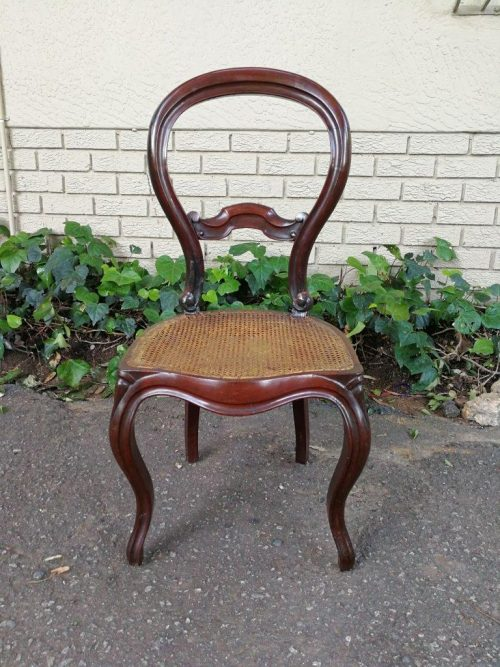 Victorian Mahogany Chair With Rattan Seat
