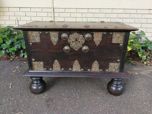 An Original And Very Rare 17th Century Batavian Teak Chest With Brass Handles And Hardware - Nd